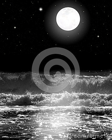 Full Moon Over the Ocean Waves with Stars at Night