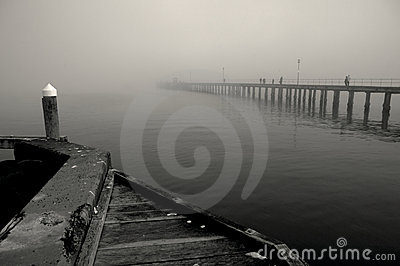 Black and white image of Winter mist over the sea
