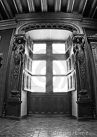 Black And White Interior Window at Chenonceau