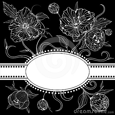 Black and white invitation with peony flowers
