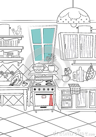 black and white kitchen cartoon style background