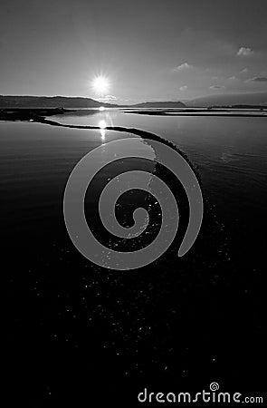 Black-and-white landscape