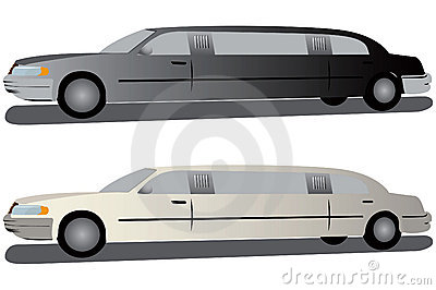 Black and white limousines.