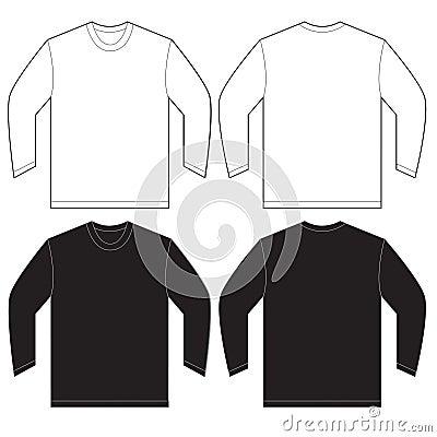 black white long sleeve t shirt design template stock vector image 63491013. Black Bedroom Furniture Sets. Home Design Ideas