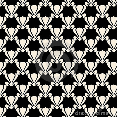 Black and white lotus plant repeat pattern design