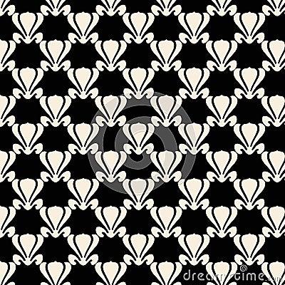 Black and white lotus plant repeat pattern design