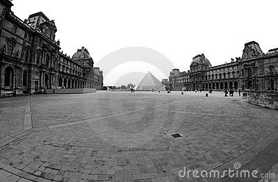Black and White Louvre Museum in Paris France Editorial Stock Image