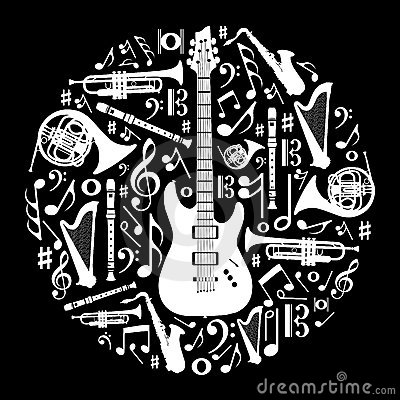 Black and white love for music background