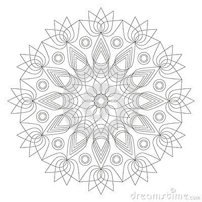Black And White Mandala Lotus Flower Shape