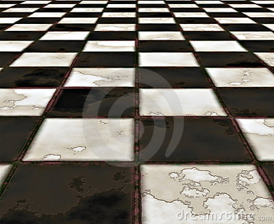 black and white marble floor