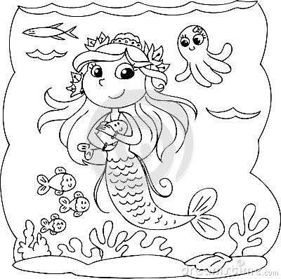 Cartoon Coloring Little Mermaid In The Ocean With Fishes Digital