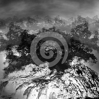 Free Black-white Minimalist Sketch Of Forest And Waterfall Royalty Free Stock Photo - 94911015