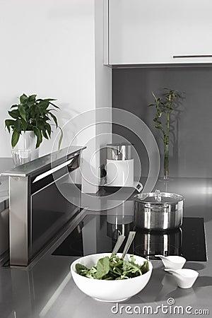 Black and white modern kitchen with stylish furniture