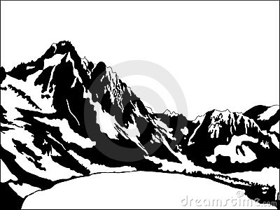 Mountain Range Clipart Black And White Black and white mountain