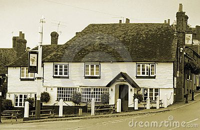 Black and white old english kent country pub