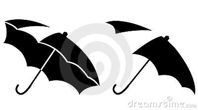 Black-and-white open umbrellas
