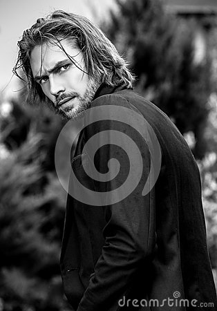 Free Black-white Outdoor Portrait Of Elegant Long Hair Handsome Man Stock Photos - 80770693