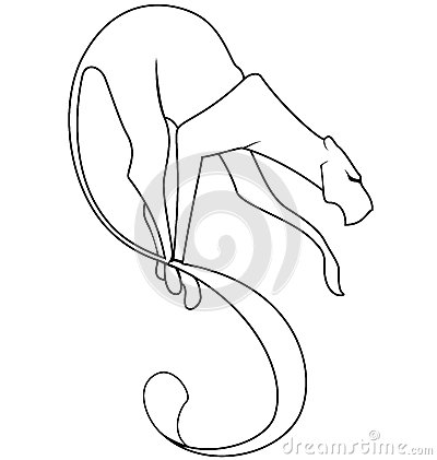 Black and white panther tail vector