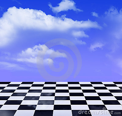 Black-and-white pattern and blue sky