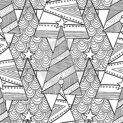 Black And White Pattern With Christmas Trees For Coloring ...