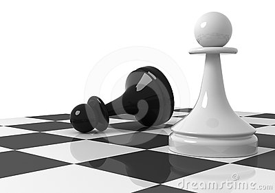 Black and white pawns on the chessboard