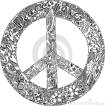 Black and white PEACE symbol vector