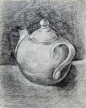 Black And White Pencil Drawing Teapot Stock Photos - Image ...
