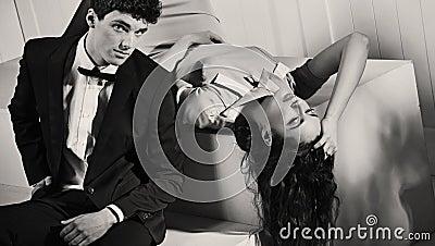Black-white photo of attractive couple