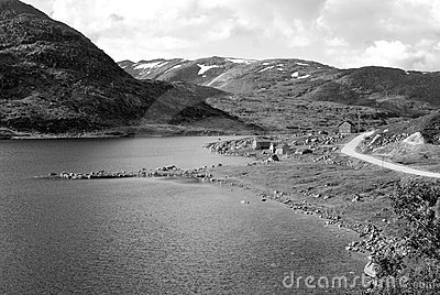 Black-and-white picture of Vikafjell in Norway