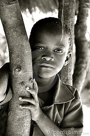 Black and white portrait of african boy Editorial Photography