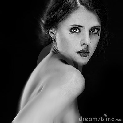 Black and white portrait of attractive young woman