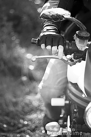 Black and white portrait of man on the bike