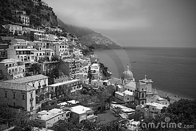 Black and white Positano, Italy