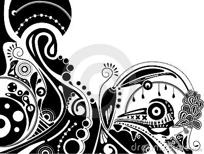 Black-and-white psychedelic illustration
