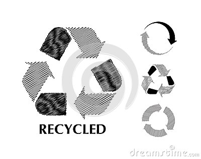 Black and white recycle symbol in sketch
