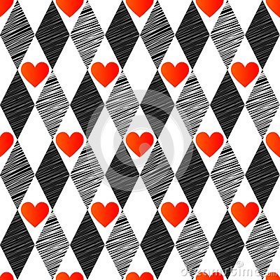 Seamless background with rhombus and hearts,