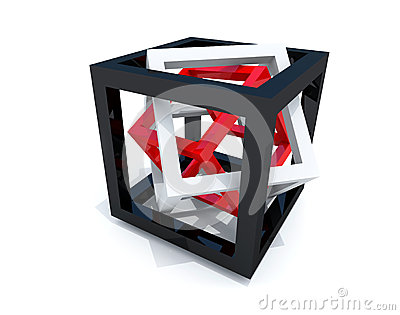 Black, white and red wire-frame cubes