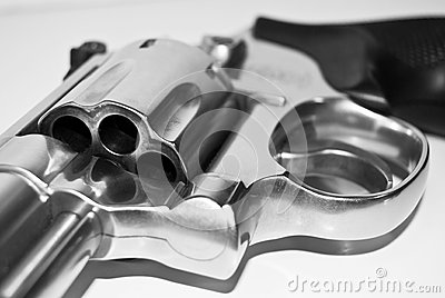 Black and White Revolver Gun