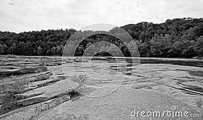 Black and white river shore