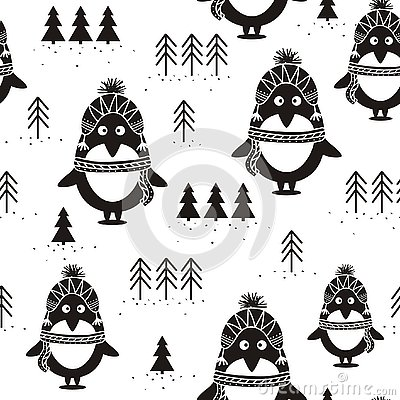 Black and white seamless pattern, penguins and fir trees, Vector Illustration