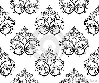 Black-and-white seamless pattern. Vector illustrat