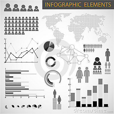 Black and white set of Infographic elements
