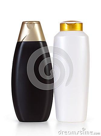 Black and white shampoo bottles