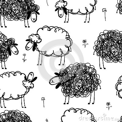 Black and white sheeps on meadow, seamless pattern