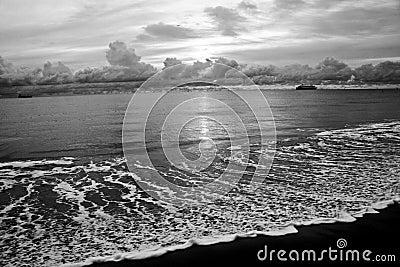 Black and white shoreline