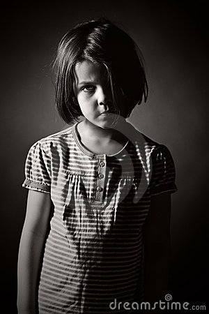 Black and White Shot of a Sad Child