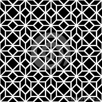Black and white simple star shape geometric seamless pattern, vector Vector Illustration