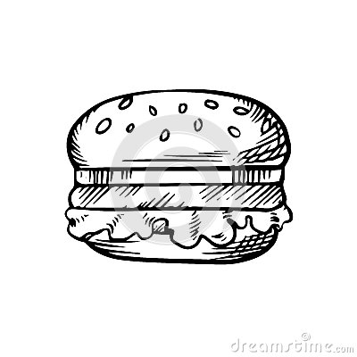 Black And White Sketch Of A Hamburger Stock Vector - Image ...