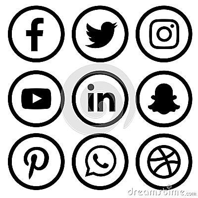 Black & white Social media logo set of facebook twitter instagram pinterest whatsapp dribble you-tube linked in and snap-chat Vector Illustration