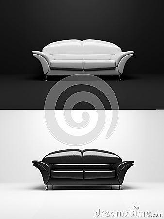Black and white sofa monochrome object